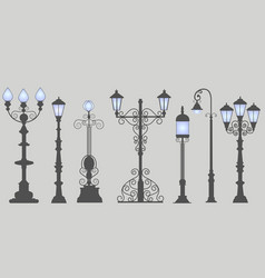 Collection seven street lamps isolated gray vector