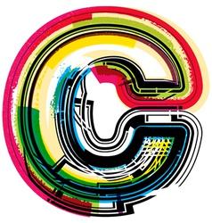 Colorful Grunge font LETTER c vector
