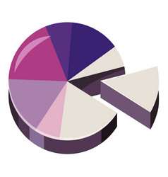 Colorful pie graphic chart icon cartoon style vector
