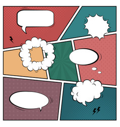 colorful template retro comic book page with vector image