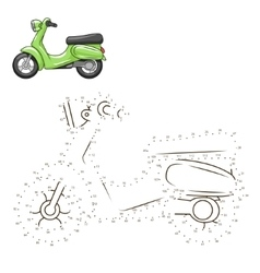 Connect dots to draw scooter educational game vector