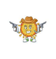 cool cowboy outbreaks coronavirus holding guns vector image
