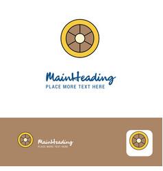 creative wheel logo design flat color logo place vector image