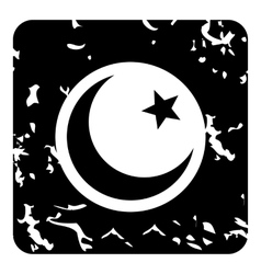 Crescent and star icon grunge style vector image