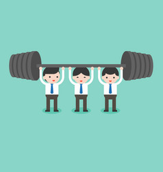 Cute businessman team help each others for weight vector
