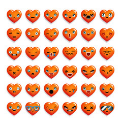 Cute heart chat emoticon smiley emoji icons set vector