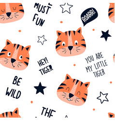 cute tiger seamless hand drawing vect vector image