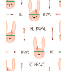 cute tribal rabbit seamless pattern vector image
