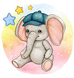 Cute watercolor baby boy elephant sitting vector
