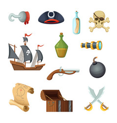 Different icon set of pirate theme skull vector