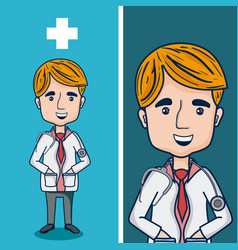 doctor funny cartoon vector image