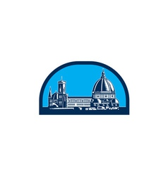 Dome of Florence Cathedral Retro Woodcut vector