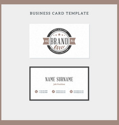 Double-sided vintage business card template with vector