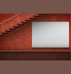 Empty mockup billboard on brick wall vector
