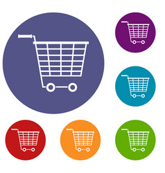 empty supermarket cart with plastic handles icons vector image