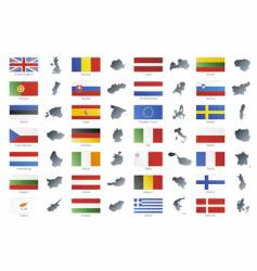 European union flags with maps vector image vector image