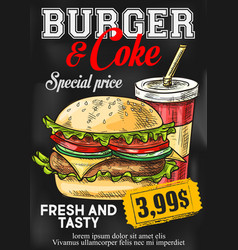 Fast food price card burger and coke menu vector