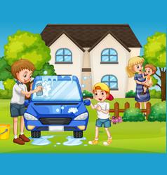Father and son washing car at front yard vector