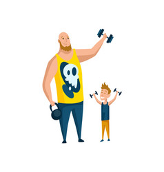 father spend time with son dad goes in for sports vector image