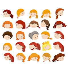 Female heads with happy face vector image