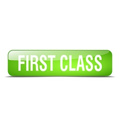 First class green square 3d realistic isolated web vector