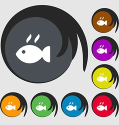 Fish dish Icon sign Symbols on eight colored vector