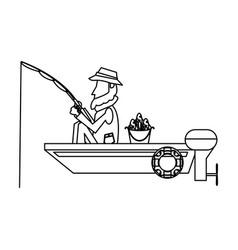 fisherman in boat in black and white vector image