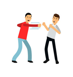 Flat cartoon man in red sweater attacking guy in vector