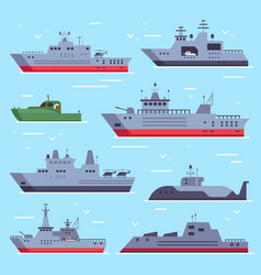 flat military boats navy battle ships sea combat vector image