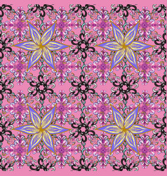 Flowers on pink violet and neutral colors floral vector