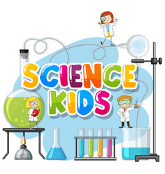 font design for word science kids with kid in the vector image