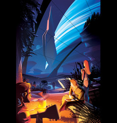 Futuristic campfire on other planet vector