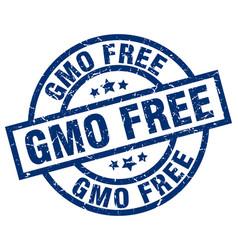 gmo free blue round grunge stamp vector image