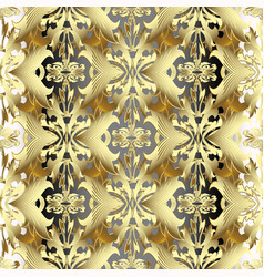 gold 3d baroque seamless pattern golden vector image