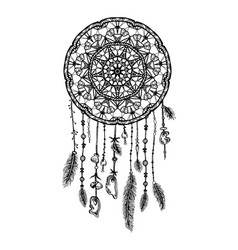 hand drawn bohemian dreamcatcher vector image
