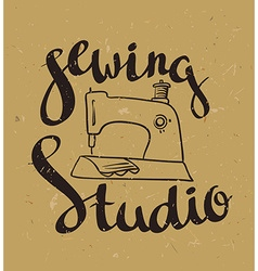 Hand drawn typography poster with sewing machine vector image