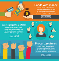 Hands gestures banner horizontal set flat style vector