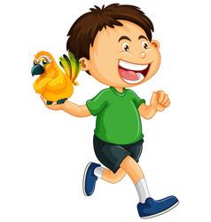 Happy boy holding parrot vector