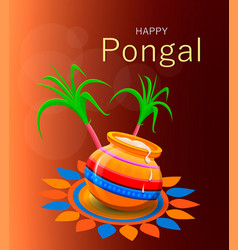 Happy pongal greeting card on brown background vector