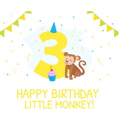 Happy third birthday card birthday anniversary vector