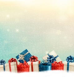 Holiday christmas background with a border gift vector