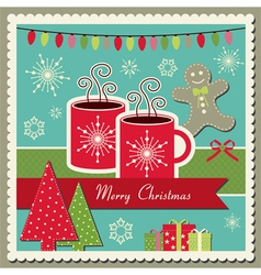 Hot chocolate Christmas card vector