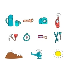 Icons with object for ski vacation vector