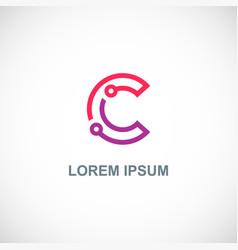 letter c technology company logo vector image