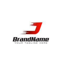 letter initial j speed logo design template vector image