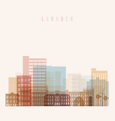 lubbock state texas skyline detailed silhouette vector image