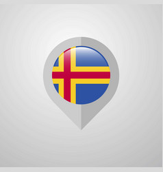 Map navigation pointer with aland flag design vector