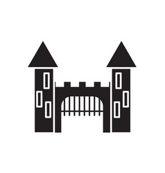 medieval castle with towers and gate black icon vector image