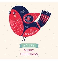 Merry christmas bird vector image