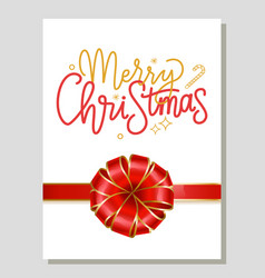merry christmas gift or greeting card with bow vector image